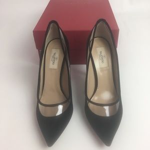 NEW Valentino Black Velvet Dollybow Heels bow